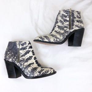 Loeffler Randall Gray Snakeskin Zip Booties Boots